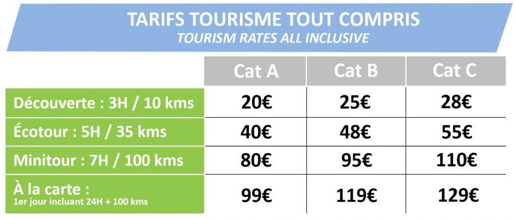 Tarifs tourisme tout compris